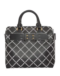 Burberry Small Belted Perforated Satchel Bag Black Pattern