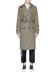 Alexander Mcqueen Sunflower Embroidered Cotton Trench Coat Green