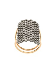 Diane Kordas Crystal Embellished Net Pattern Ring Crystal Gold Metallic