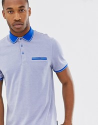 Ted Baker Polo Shirt With Contrast Collar Blue