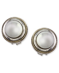 Effy Collection Effy Cultured Freshwater Pearl Scroll Side Earrings In 18K Gold And Sterling Silver Black