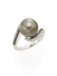 Effy 11.5Mm Pearl Diamond And 14K White Gold Ring