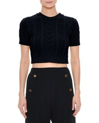Valentino Short Sleeve Cable Knit Crop Top Navy