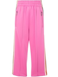 Marc Jacobs Cropped Track Trousers Pink And Purple