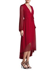 Prabal Gurung Long Sleeve Silk Chiffon Flounce Dress Crimson