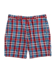 Brooks Brothers Red Fleece Plaid Shorts Blue