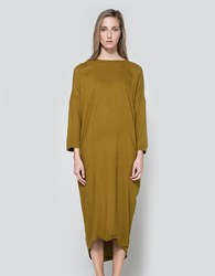 Black Crane Pleated Cocoon Dress In Gold Brown