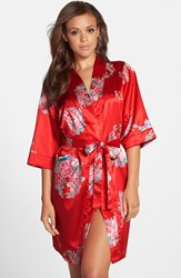 Cathy's Concepts Women's Monogram Floral Satin Robe Red