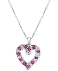 Macy's Ruby 1 1 10 Ct. T.W. And Diamond 1 10 Ct. T.W. Heart Pendant Necklace In Sterling Silver Red