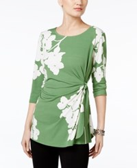 Alfani Printed Side Tie Top Only At Macy's Green Delicate Hydrangea Print