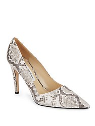 Saks Fifth Avenue Made In Italy Erika Snake Embossed Leather Pumps Grey White