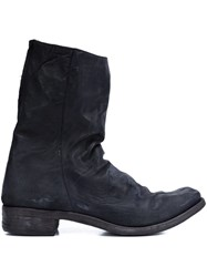 A Diciannoveventitre Double Zipper Boots Black