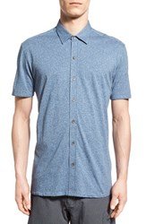 Men's W.R.K. 'Metropolitan' Knit Short Sleeve Sport Shirt Textured Blue