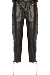 Isabel Marant Beatrix Lace Up Leather Tapered Pants Black