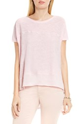 Vince Camuto Women's Two By Mixed Media Step Hem Tee Pale Dahlia