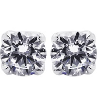 Carat Rosy Round 1Ct Solitaire Stud Earrings White