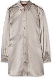 Sies Marjan Kelsi Metallic Cotton Blend Satin Shirt Silver
