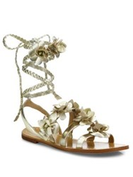 Tory Burch Blossom Metallic Leather Gladiator Sandals Spark Gold