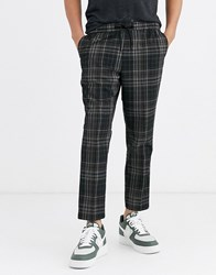 New Look Slim Crop Checked Trousers In Grey Multi