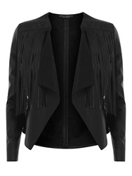 Dorothy Perkins Faux Leather Fringed Jacket Black