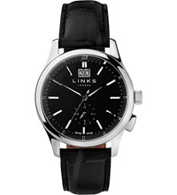 Links Of London 6020.1146 Regent Stainless Steel And Leather Watch Black