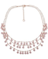 Anne Klein Shaky Stone Triple Row Collar Necklace 17 3 Extender Rose Gold