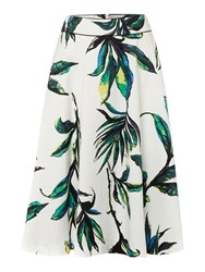 Linea Palm Print Full Skirt Multi Coloured