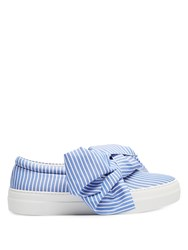Joshua Sanders Wide Stripes Bow Slip On Trainers Blue Stripe