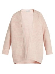 Vika Gazinskaya V Neck Wool Open Cardigan Pink White