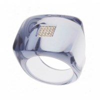 Andre Benitah Creations Paris Square Resin And Diamond Ring Gray