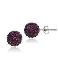 Lord And Taylor Sterling Silver Fireball Stud Earrings Purple