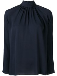 The Row Stand Up Collar Blouse Blue