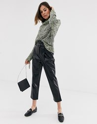 Moon River Faux Leather Cropped Trousers Black
