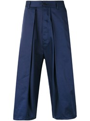 Sunnei Pleated Cropped Trousers Blue