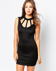 Club L Bodycon Dress With Cage Detail Black