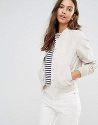 New Look Suedette Bomber Stone Beige