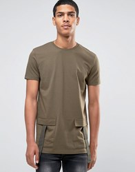 Asos Longline T Shirt In Heavy Jersey With Military Pockets In Khaki Khaki Green