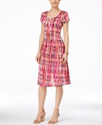Ny Collection Petite Printed Dress Pink Multitree
