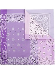 Pierre Louis Mascia Patch Work Print Scarf Pink And Purple