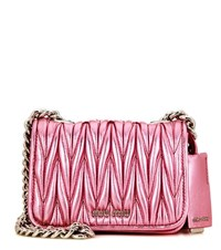 Miu Miu Matelasse Metallic Leather Shoulder Bag Pink