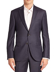 Jack Victor Modern Geometric Wool Suit Jacket Blue