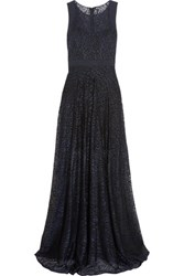 Badgley Mischka Embroidered Tulle Gown Navy