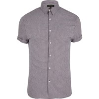 River Island Mens Purple Gingham Muscle Fit Short Sleeve Shirt