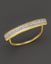 Meira T 14K Yellow Gold Long Bar Ring With Diamonds
