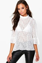 Boohoo All Over Lace High Neck Blouse White