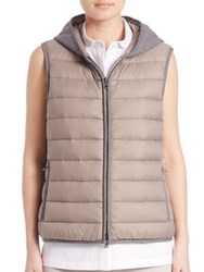 Peserico Hooded Puffer Vest Taupe Navy