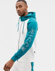 Nicce London Zip Thru Hoodie In White Colour Block