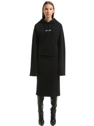 Vetements Eyes Hooded Cotton Sweatshirt Dress