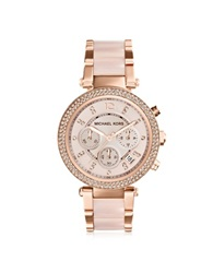 Michael Kors Mid Size Rose Golden Stainless Steel Parker Chronograph Glitz Watch Pink