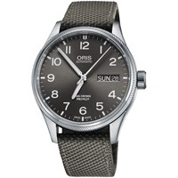 Oris 752 7698 4063 07 5 22 17Fc 'S Big Crown Pro Pilot Automatic Date Day Fabric Strap Watch Grey
